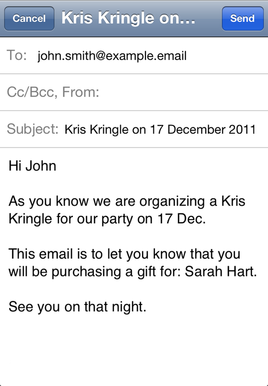 Kris Kringle app screen shot
